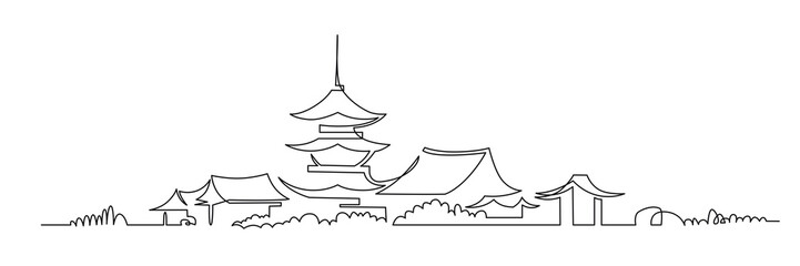 Japanese Buddhist temple continuous one line vector drawing Fototapete