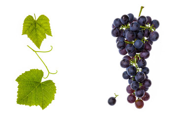 bunch of red grapes with leaves and copy space in middle Fototapete