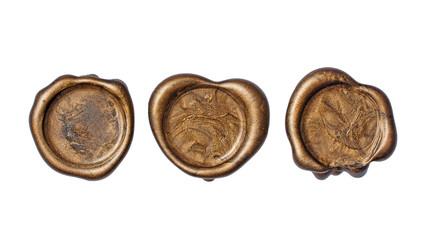 Set of old vintage golden wax seals or stamps