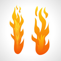Two Fire Flames isolated on white background.
