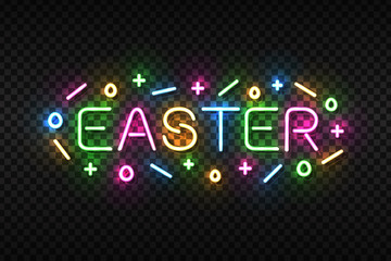 Vector realistic isolated neon sign of Easter logo for template decoration and covering on the transaprent background.