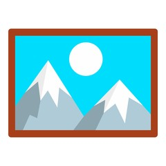 Mountain wall picture icon. Flat illustration of mountain wall picture vector icon for web design