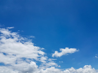 Soft white tiny clouds and blue sky background on sunny day for abstract background or insert text copy space.