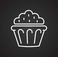 Cake outline icon on black background for graphic and web design, Modern simple vector sign. Internet concept. Trendy symbol for website design web button or mobile app