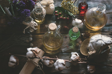 Herbal medicine essential oil and various dry herb on a table. Witchcraft. Witch doctor concept background.