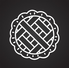 Pie outline icon on black background for graphic and web design, Modern simple vector sign. Internet concept. Trendy symbol for website design web button or mobile app
