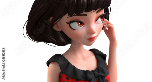 3d Cartoon Character Of A Brunette Retro Girl With Big Brown Eyes