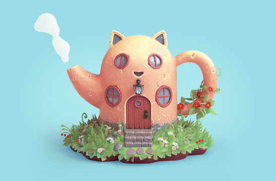 Yellow cartoon cat house in shape of teapot with round wooden windows.Teapot with cat ears and steam from spout. Amazing fairy house on the lawn with grass and flowers. 3d rendering on blue background