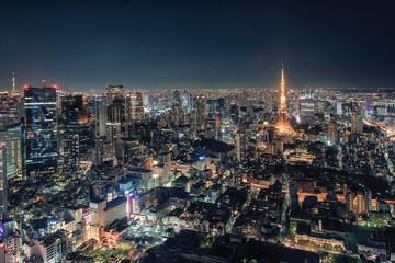 Fototapete - Tokyo Tower illuminated by night in Tokyo