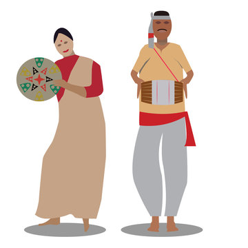 The bihu man plays music, and the bihu woman dances to his melody. A man and a woman perform the Bihu from Assam folk dance. Indian cultural festival holiday concept illustration vector.