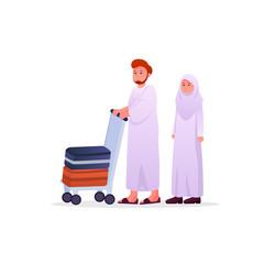 Two Muslims Wearing Ihram, Hajj Pilgrimage Dress Man and Woman Couple Vector Cartoon Illustration