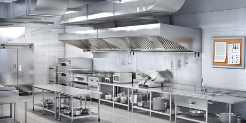 Industrial kitchen. Restaurant kitchen. 3d illustration