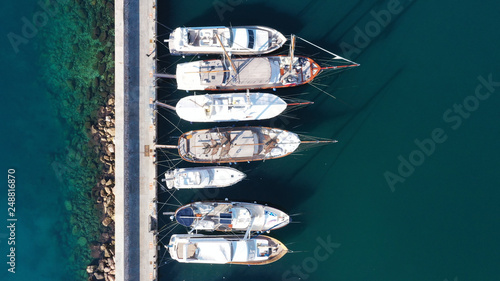 Aerial drone photo of famous marina of Alimos with yachts