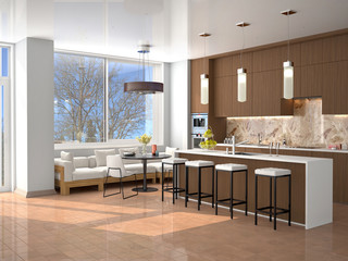 modern brown kitchen interior with island and dining area. 3d illustration