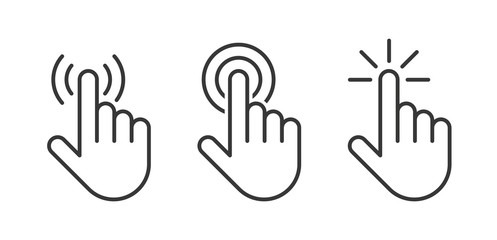 Hand click icons set. Vector illustration Wall mural