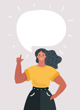 Woman with speech bubble for your text
