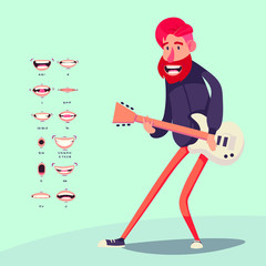 Cartoon rock artists characters singing and playing on musical instrument. guitar player and singer. vector illustration