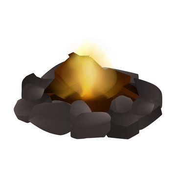 Small campfire icon. Realistic illustration of small campfire vector icon for web design isolated on white background