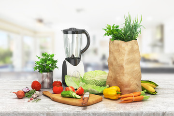 healthy foods are on the table in the kitchen. 3d illustration