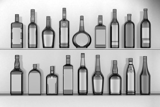 empty bottles of various shapes