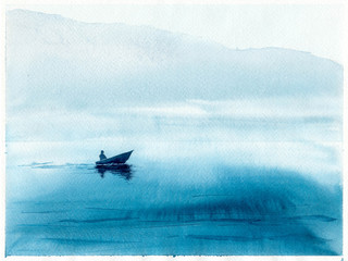 Watercolor illustration with sea, boat and fisherman. Hand drawn picture about fishing, foggy morning, seaside landscape. Blue painted background and wallpaper. Postcard in watercolor style.