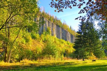Scheibenberg Orgelpfeifen aus Basalt im Erzgebirge - Scheibenberg basalt column in the Erzgebirge