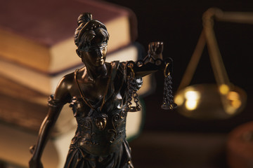 The Statue of Justice symbol, legal law concept