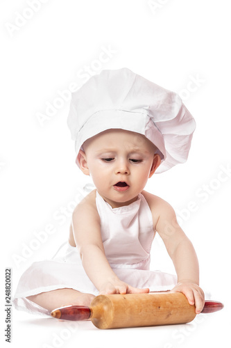 71baf7e76 Infant cook baby portrait wearing apron and chef hat with dough ...