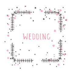 Vector hand drawn illustration of text WEDDING and floral rectangle frame on white background.