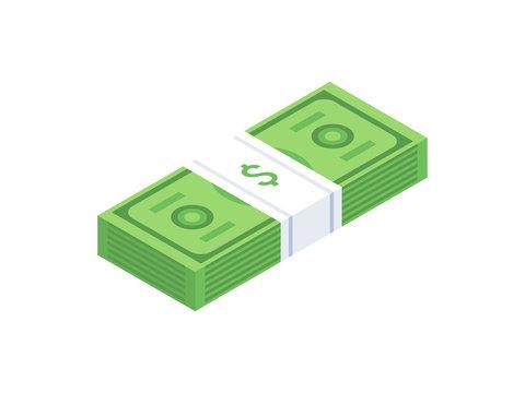 Stack of cash dollar bills. Paper money icon. Isometric design. Vector illustration