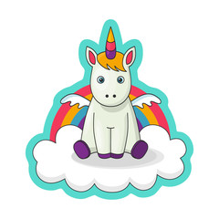 Sticker with a little baby unicorn with wings, cloud, rainbow. Cute decoration item. Vector comics of the 80s, of the 90s. Flat cartoon print, vector illustration, bright colours