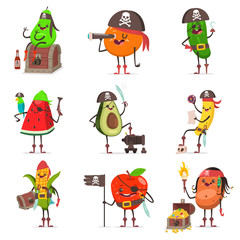 Funny pirate fruit in hat with skull and crossbone, eye patch, sword, cannon, spyglass, map, parrot, flag, chest with treasure. Cute sea robber vector cartoon character isolated on white background.