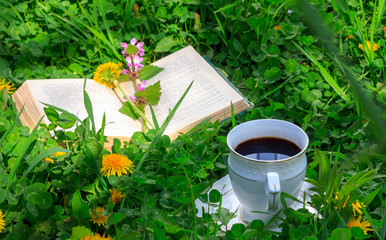 open book and a Cup of hot coffee on a green meadow in the summer or spring morning