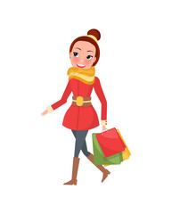 Christmas shopping day smiling and going woman with brown hair. Red overcoat with yellow scarf and jeans with brown high boots and colored packages vector
