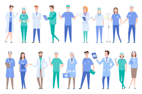 People working as doctors wearing gowns uniforms vector. Set of specialized professionals dealing with treatment and prescriptions surgeons with x ray. Set of peoples work in clinic flat style