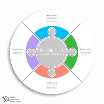Business Chart Design, 4 division, Vector Graphics