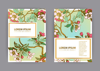 Botanical wedding invitation card template design, hand drawn sakura flowers and leaves on branches, vintage rural cherry blossom on green gold background, retro style pastel color vector illustration