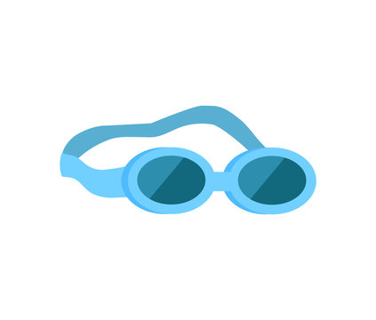 Glasses for swimming emblem isolated vector icon in cartoon style. Water protective rubber equipment single simple element, front view primitive badge