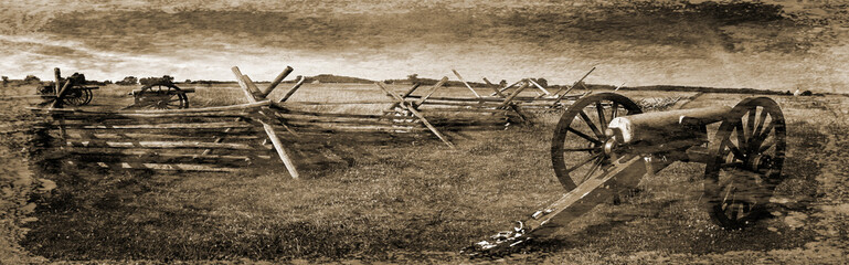 Simulated vintage photograph of Gettysburg Battlefield