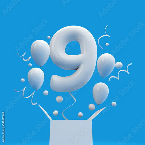 Happy 9th Birthday Surprise Balloon And Box 3D Rendering