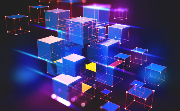 Neon light. Blockchain technology. Information block in the volumetric composition. Glowing edges on a dark background. Full-color 3D illustration of an array of cubes and a polygonal mesh.