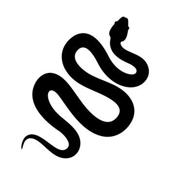 Snake cobra or anaconda silhouette vector icon. Long snake creeping