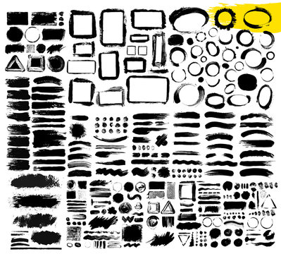 Set of hand drawn brush strokes, stains for backdrops. One color monochrome artistic hand drawn backgrounds. Monochrome design elements. Vector illustration. Isolated on white background.