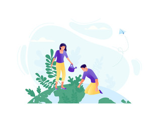 Little people plant trees together on the big planet - save the planet, Happy Earth Day, save energy, ecology, world environment day concept. Flat concept vector illustration
