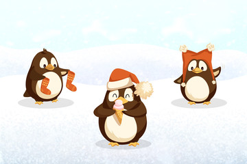 Penguins hipster animals with Santa stockings, in hat with pompoms and sweet ice cream on snowy landscape. Cartoon animals on North Pole, vector