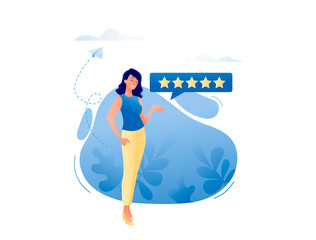 Good review - happy smiling woman leaving five stars for online product or service. Reviews, about us, good work contented consumer concept. Flat vector illustration for web, landing page