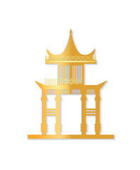 Golden Japan gate with decorated roof isolated object on white background. Torii gateway sign in flat style. Japanese traditional classic symbol vector