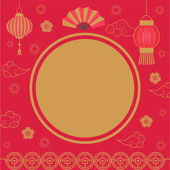 Holiday banner with frame for text and Chinese lanterns. Lunar New Year with asian festive ornament. Oriental clouds and lamps with fan in asian pattern vector