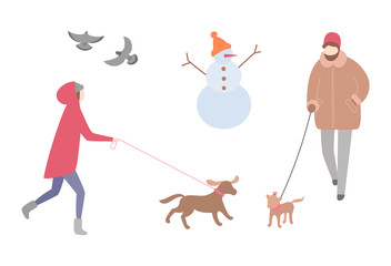 Woman walking dog in winter season activity outdoors vector. Snowman with knitted hat and carrot nose, doves pigeons flying. Person with pet on leash