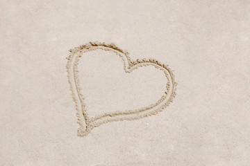 Symbolic heart on the sand